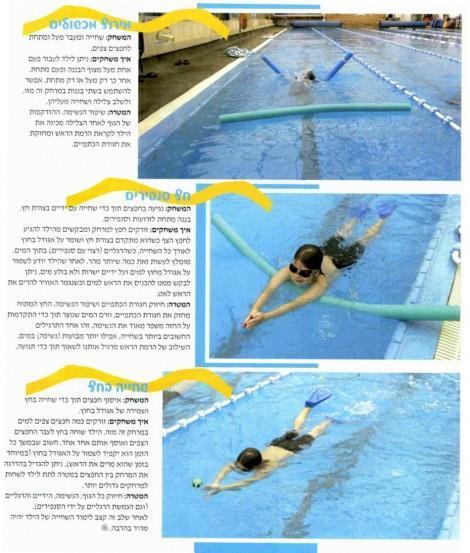 תרגילים ללימוד שחייה לימודים