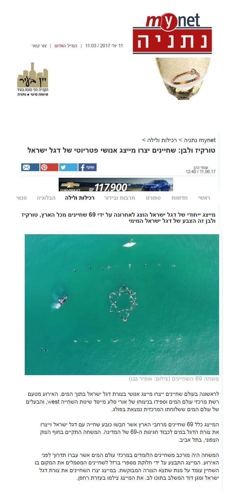 mynet: שחיינים יצרו במים את דגל ישראל